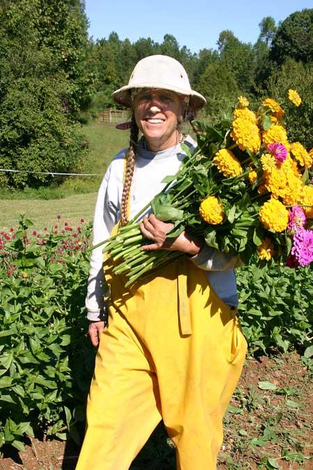 Cathy with zinnia harvest