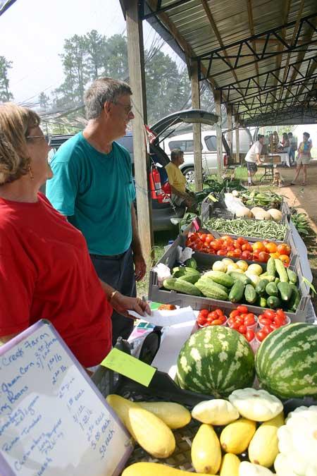 Vicki and Bobby at the Pittsboro Farmers' Market