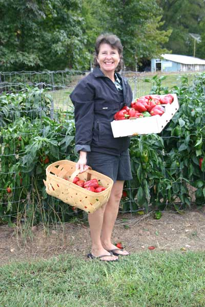 Amy with pepper harvest