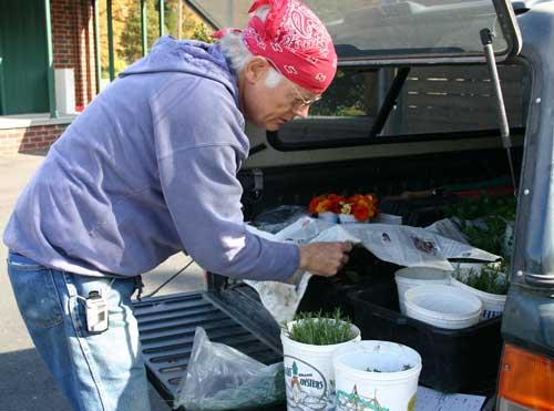 Farmer Bill Dow assembles an order