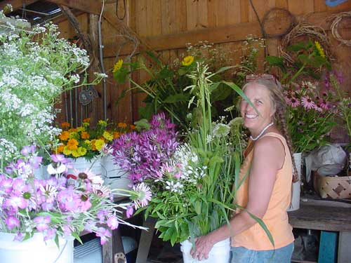 Cathy with cut flowers