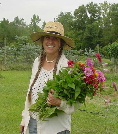 Cathy with zinnias