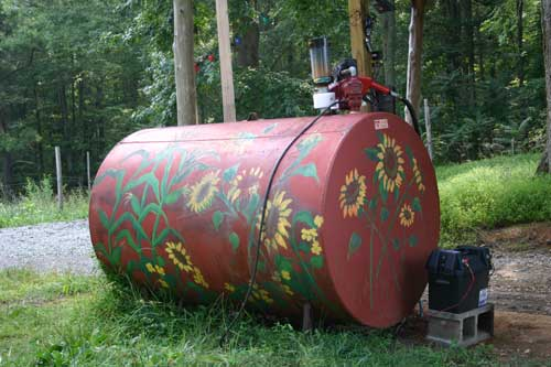 This fuel tank at the Moncure farm dispenses 100% biofuel.