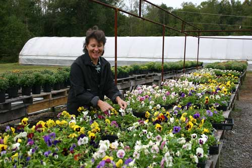 Amy with pansies