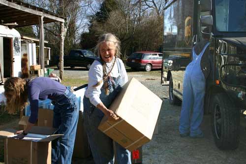 The seed potatoes arrive via UPS.