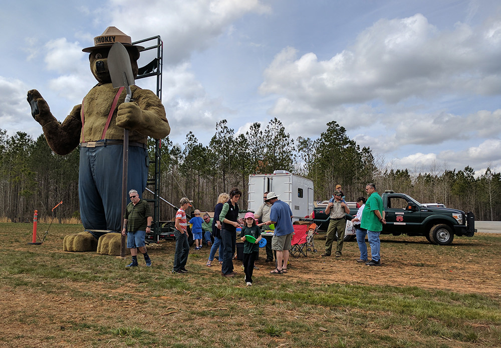 The Forest Service's exhibit with Smokey Bear was popular with kids of all ages!