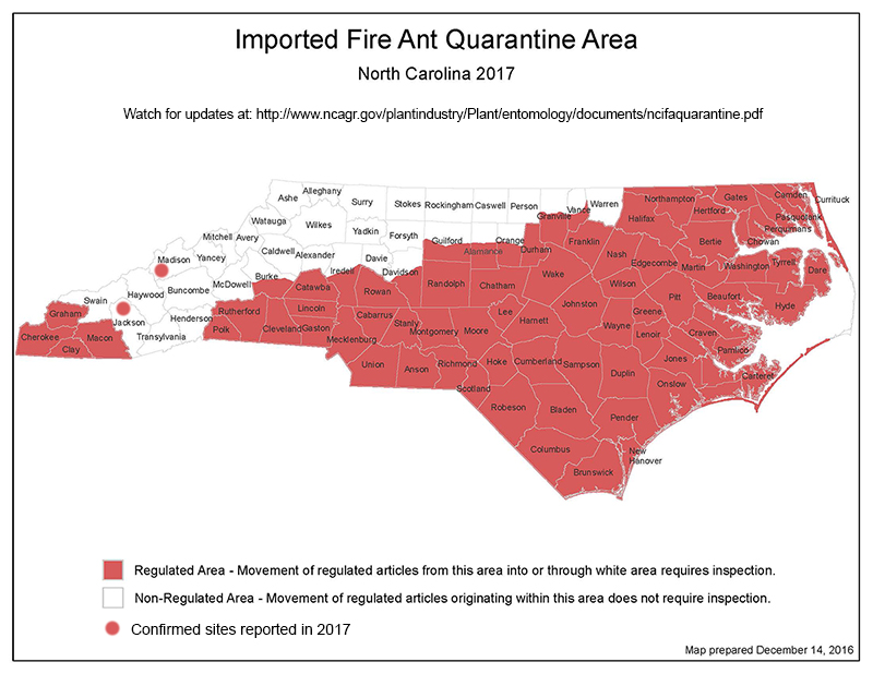 Map of NC showing counties in the quarantine area
