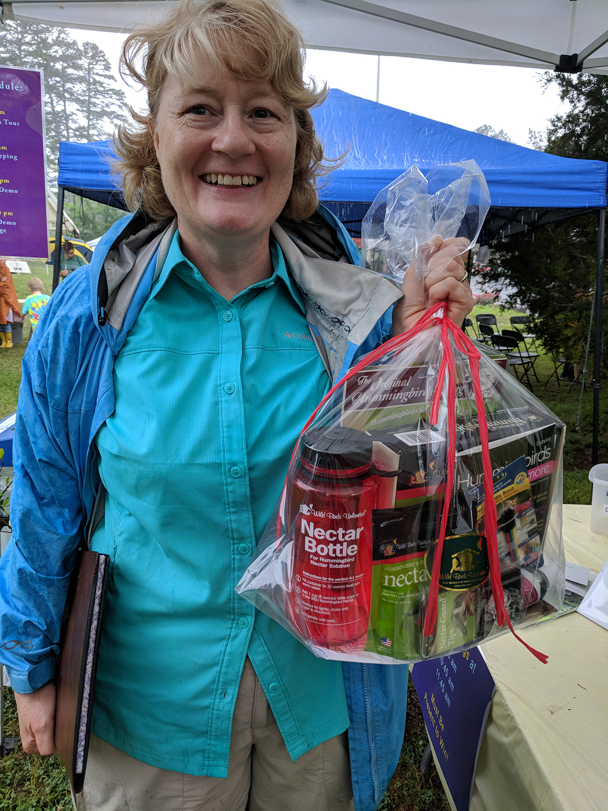 This lucky visitor won a hummingbird gift basket donated by Wild Birds Unlimited!