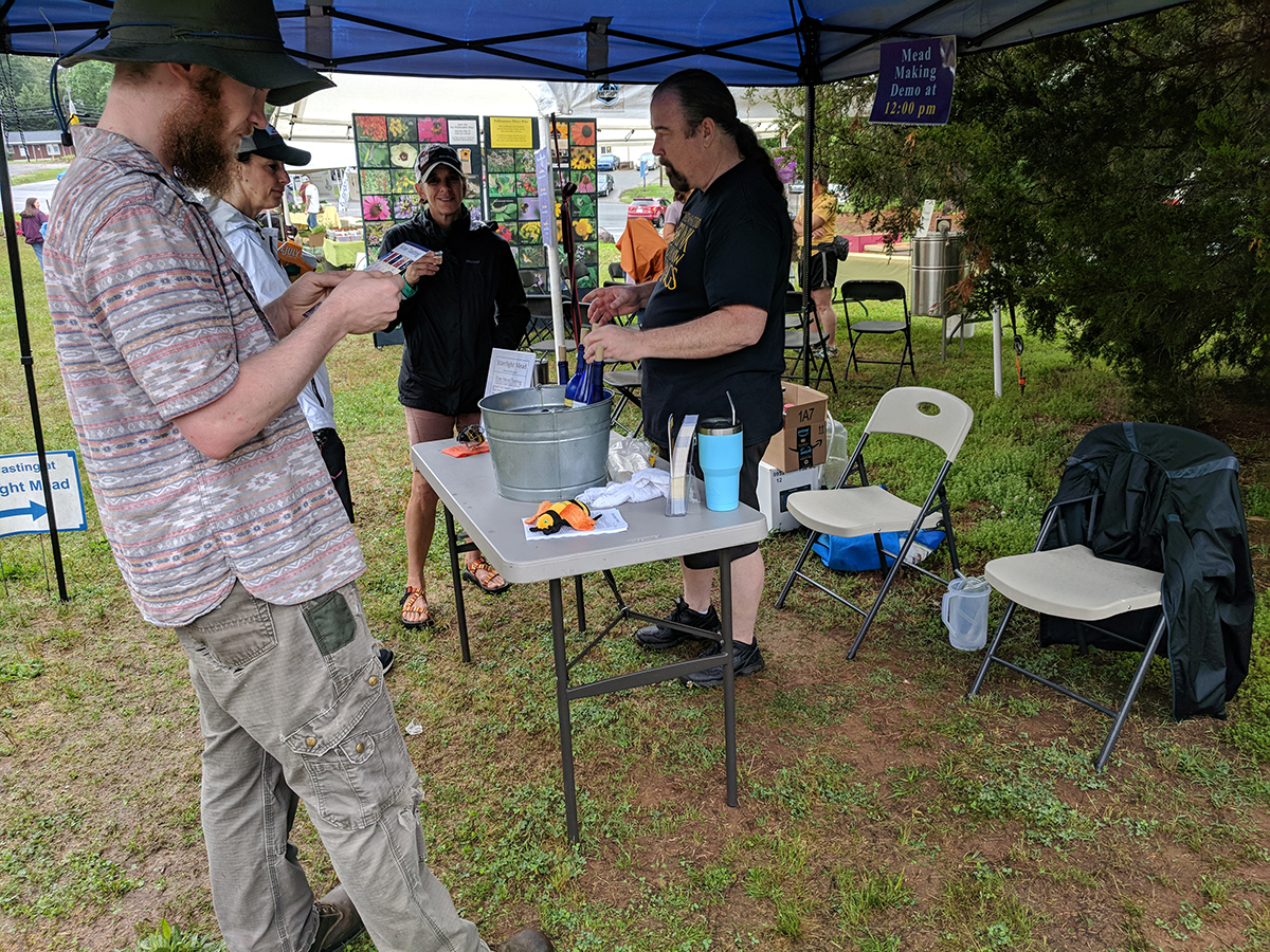 Visitors enjoyed sampling mead and learning how it's made from Ben and Becky Starr of Starrlight Mead.