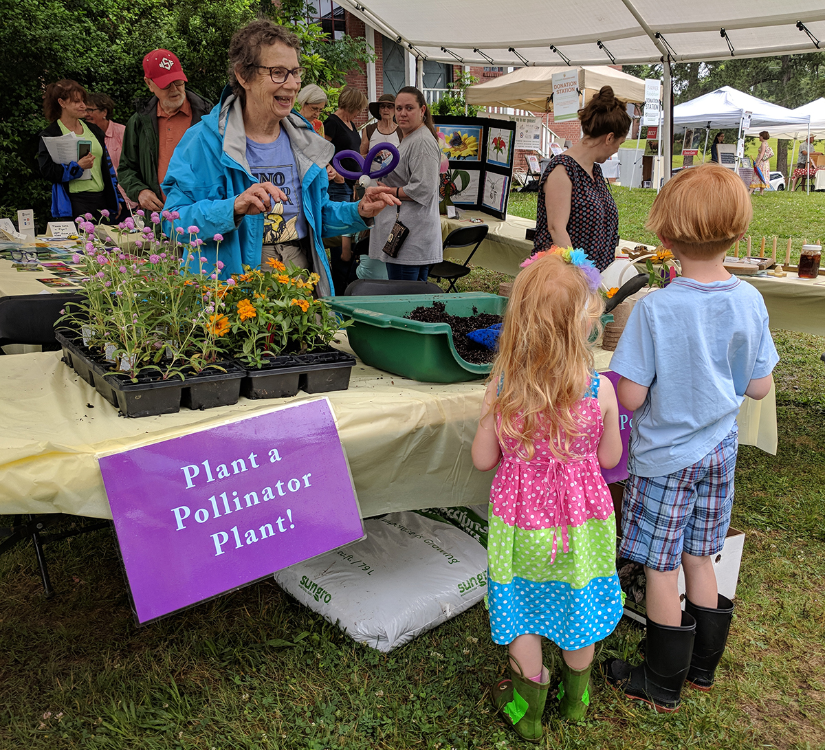 The Plant a Pollinator Plant activity attracted folks of all ages.