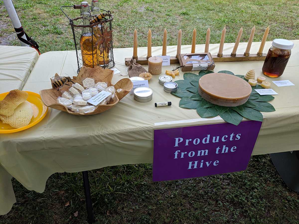 Display of products from a bee hive.