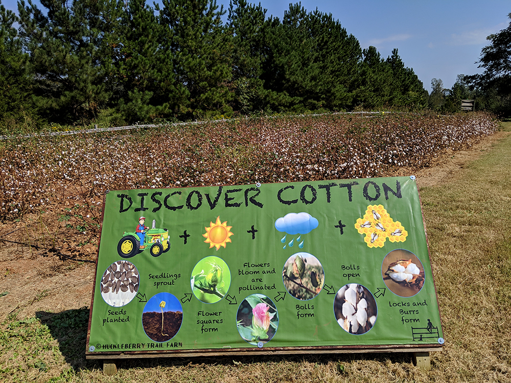 Simple signs help teach visitors about agriculture.