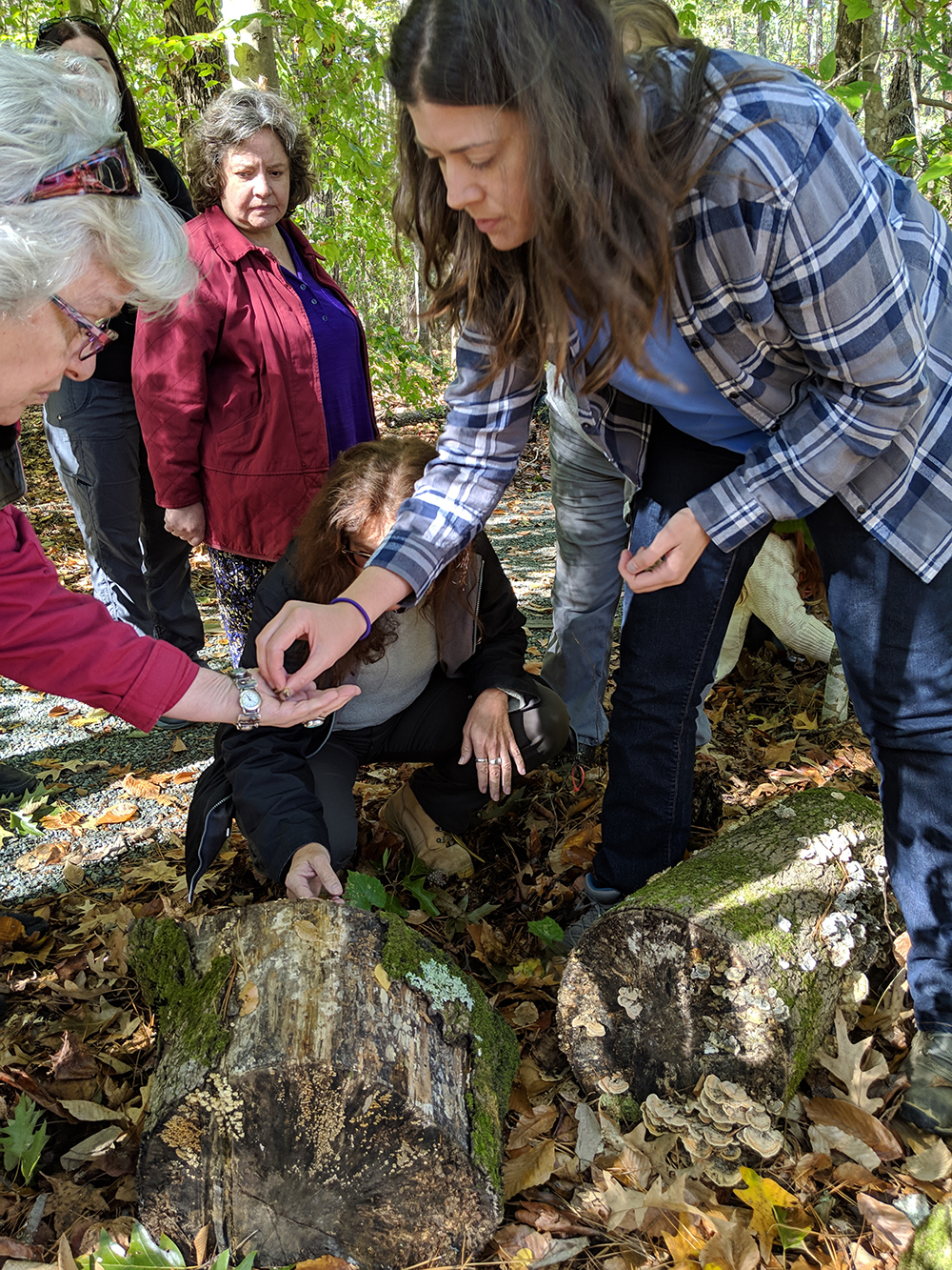 Susannah Goldston helps identify mushrooms on the walk. Photo by Debbie Roos.