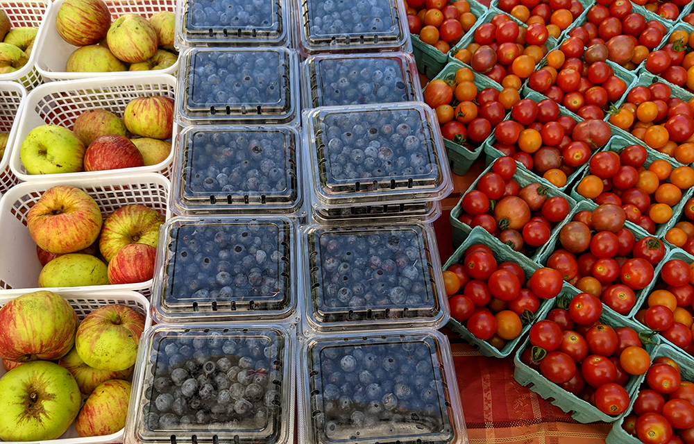 Apples, blueberries, and tomatoes