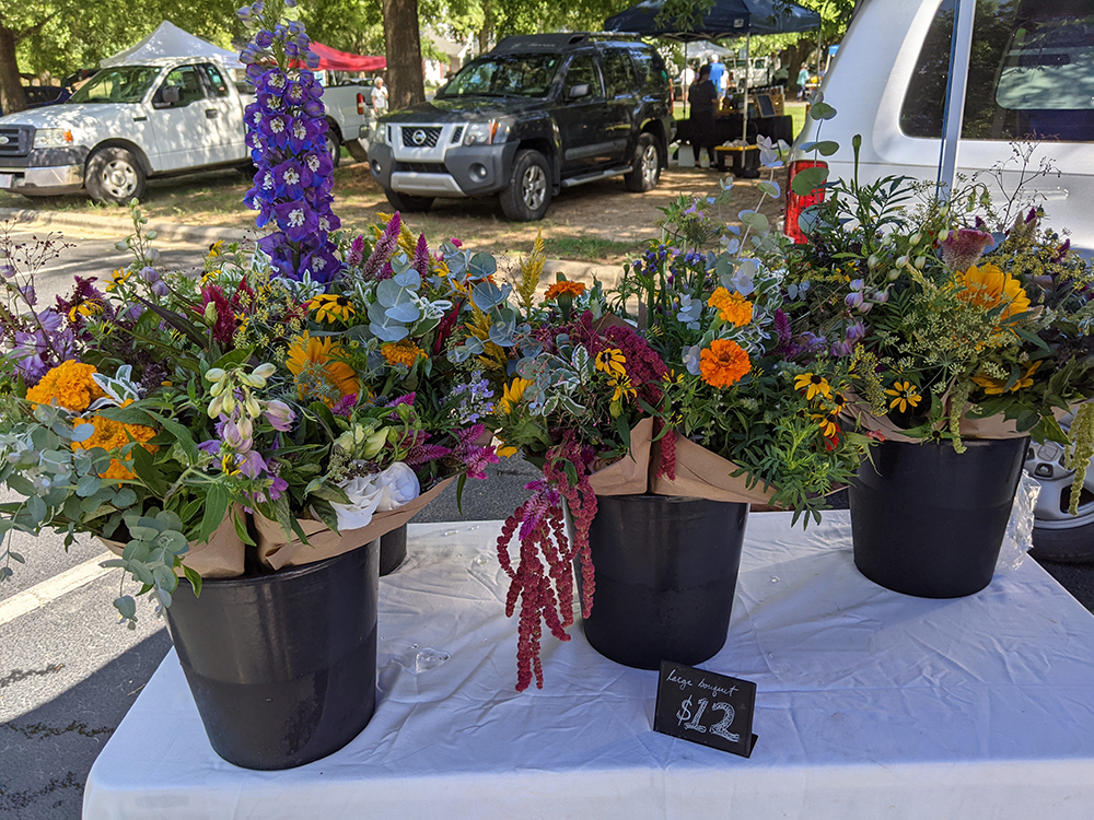 Flower bouquets for sale on table