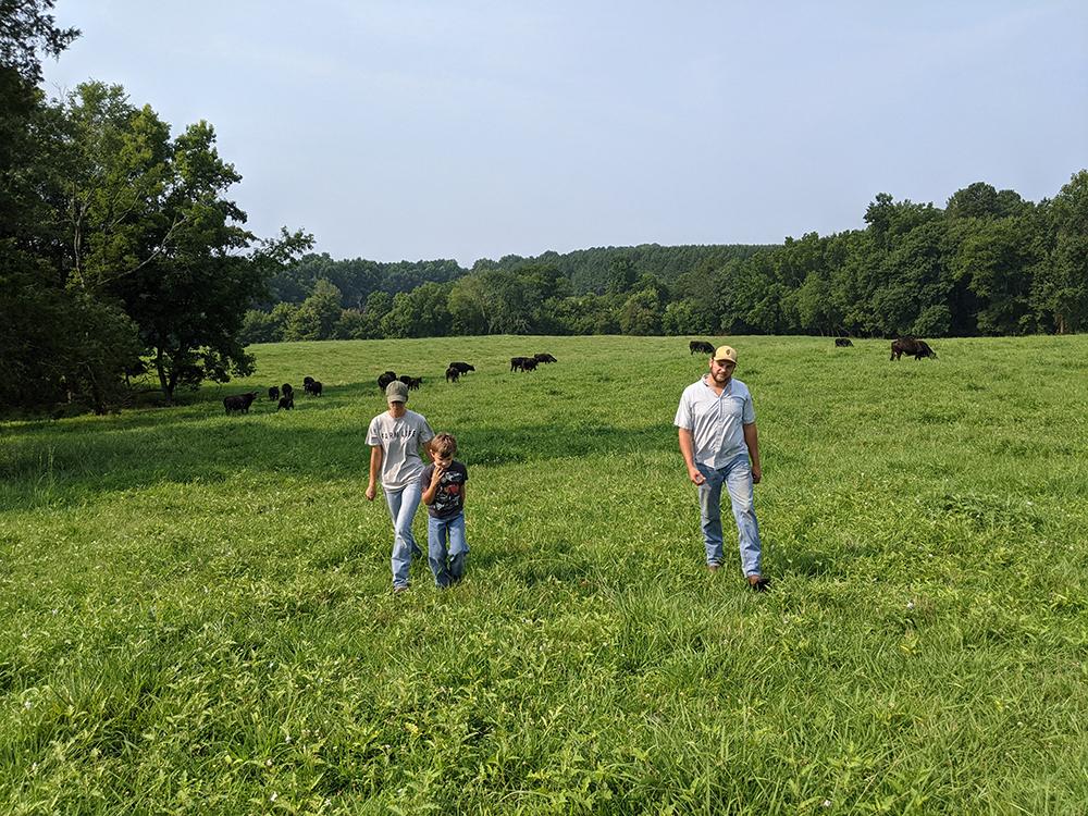 Three people walking in field
